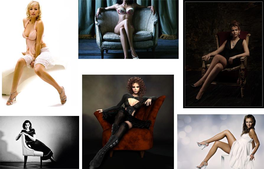 Девушек какие позы на кресле фото видео