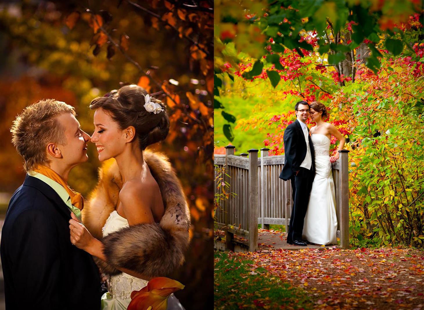 Оригинальные свадебные фото осенью идеи